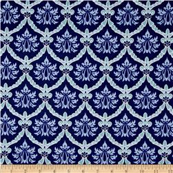 Stonewall Bloom Damask Light Navy