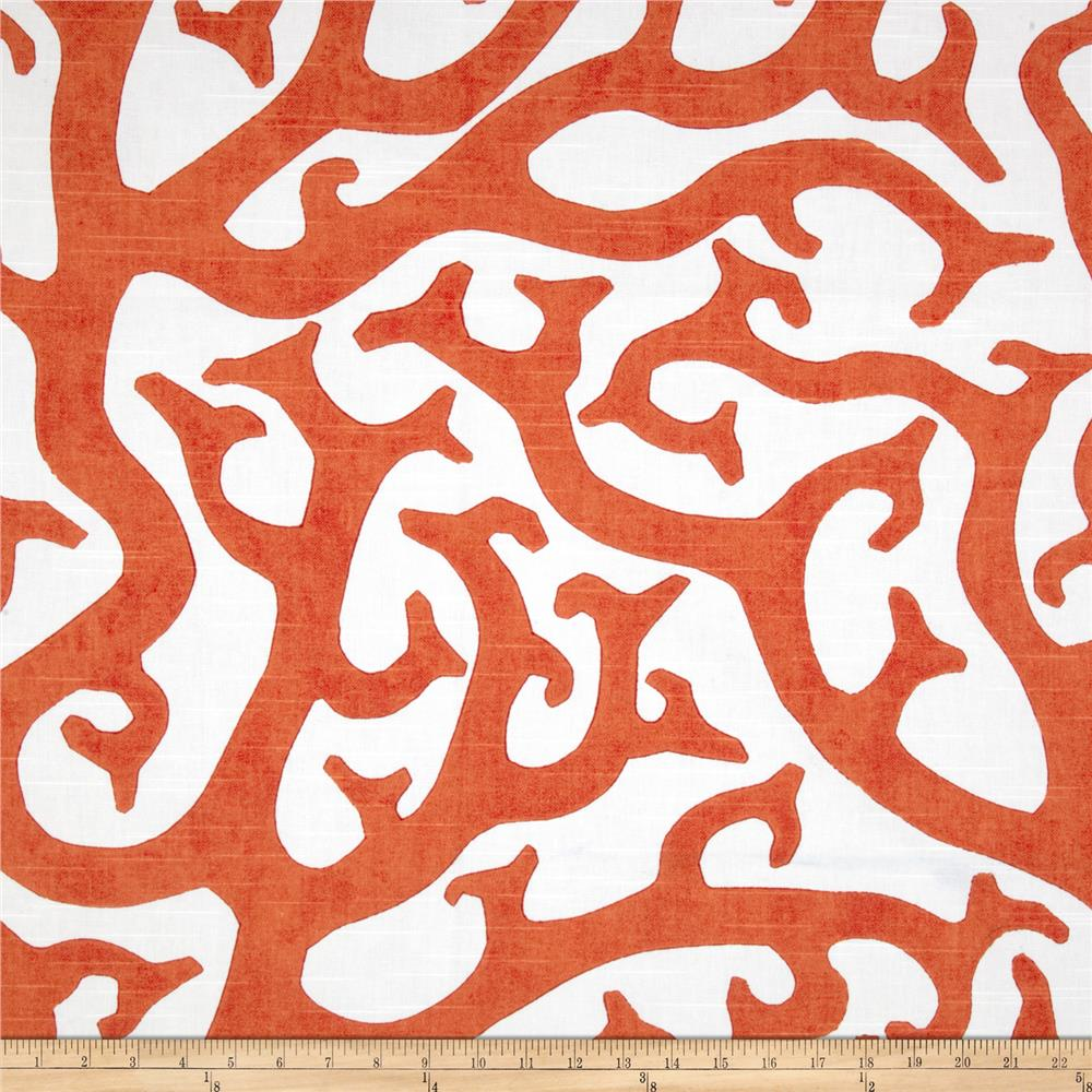 P kaufmann coral reef orange discount designer fabric for Fabric pattern