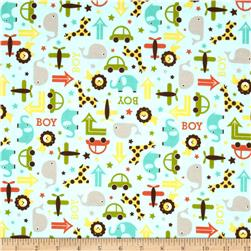 Riley Blake Oh Boy! Flannel Main Aqua Fabric