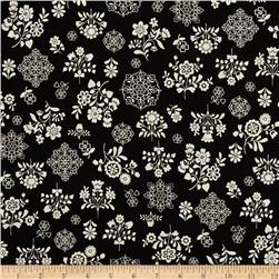 Cotton Shirting Folklore Flowers Black