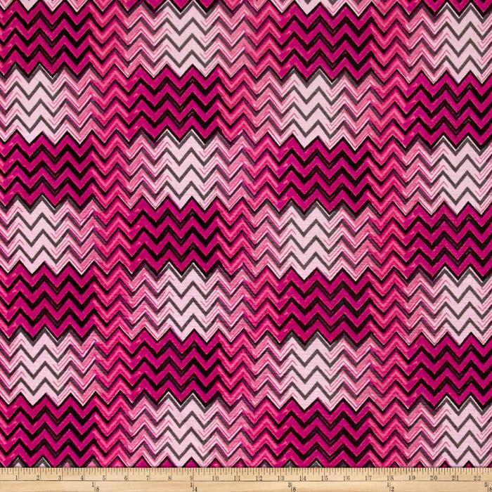 Stretch ITY Knit Shimmer Chevron Pink