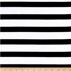 Yarn Dye Jersey Knit Black Stripes on off White