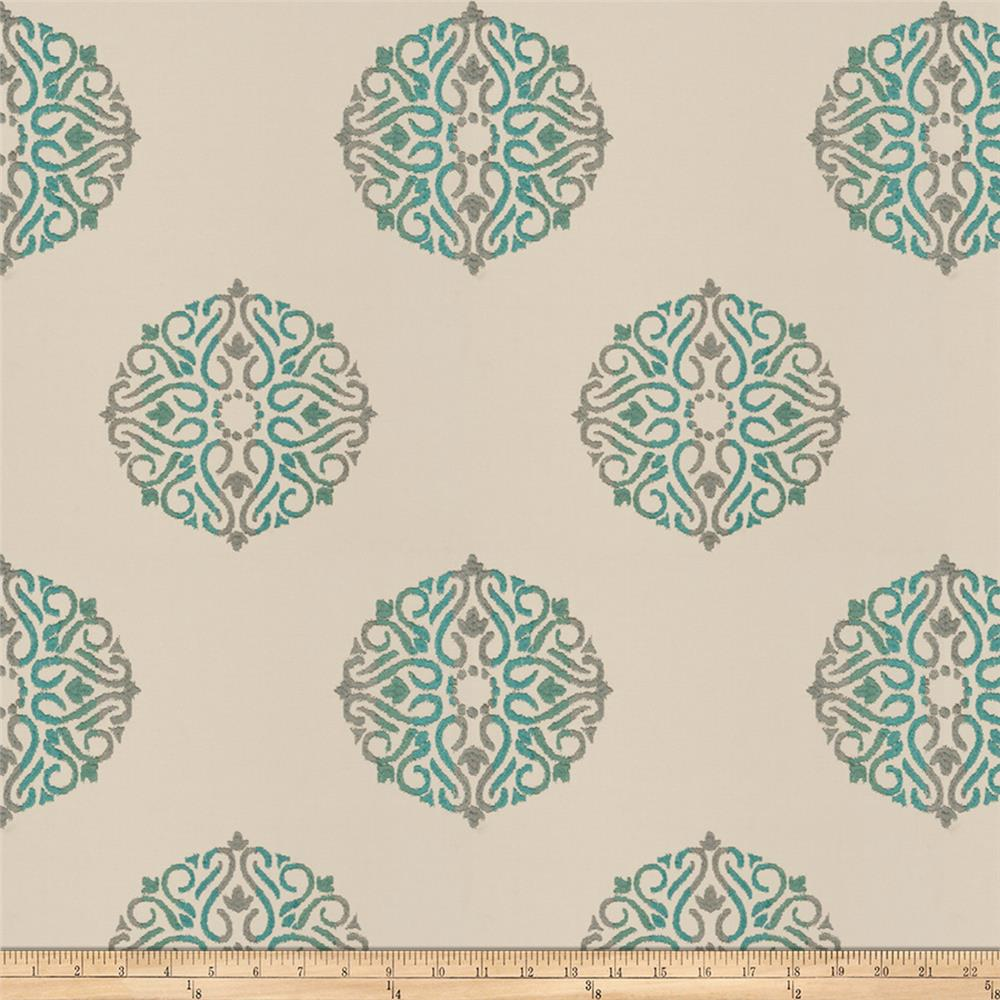 Fabricut Doozy Medallion Embroidered Taffeta Teal