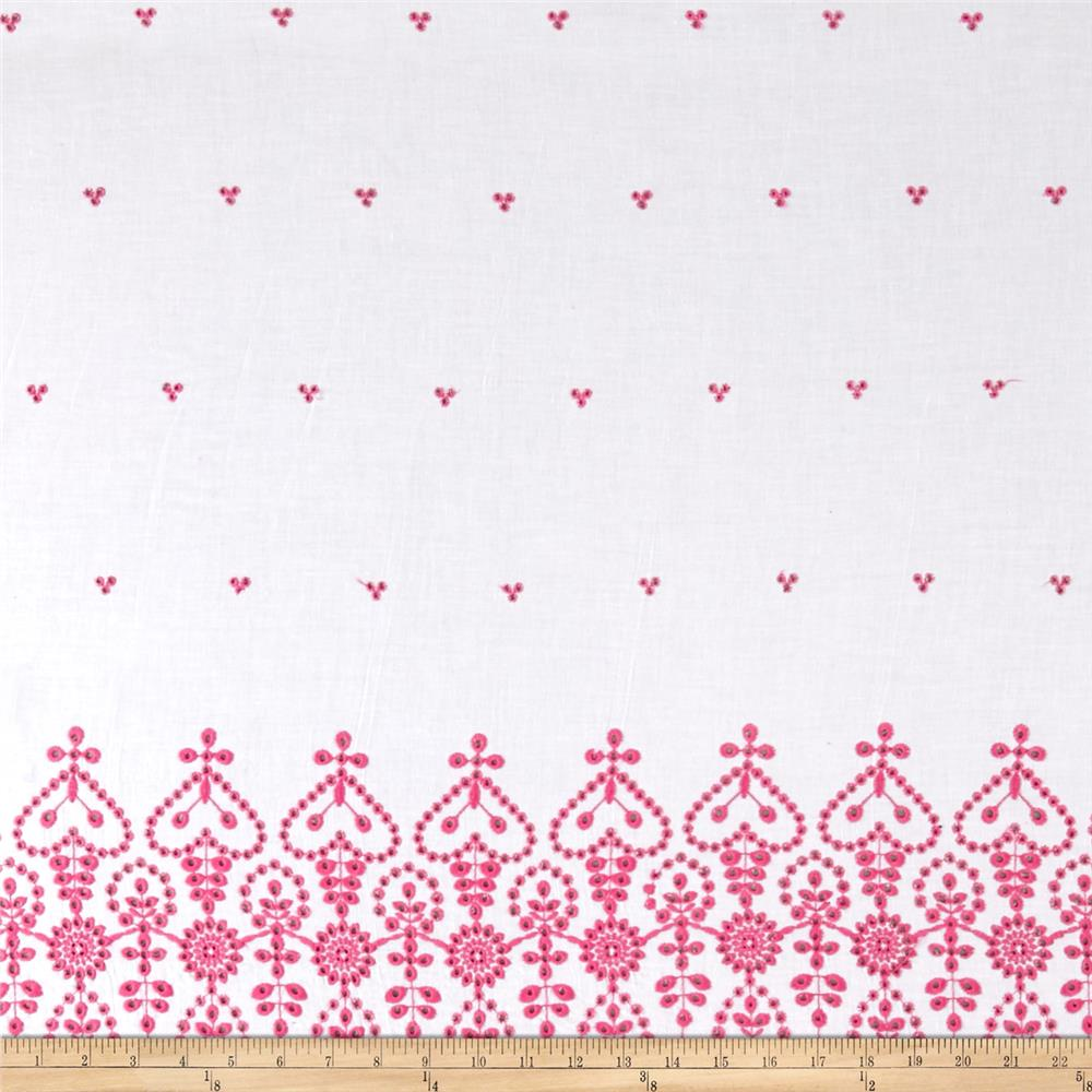 Lawn Eyelet Double Border Pink
