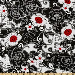 Swirl Floral Black Fabric