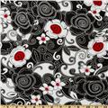Timeless Treasures Swirl Floral Black