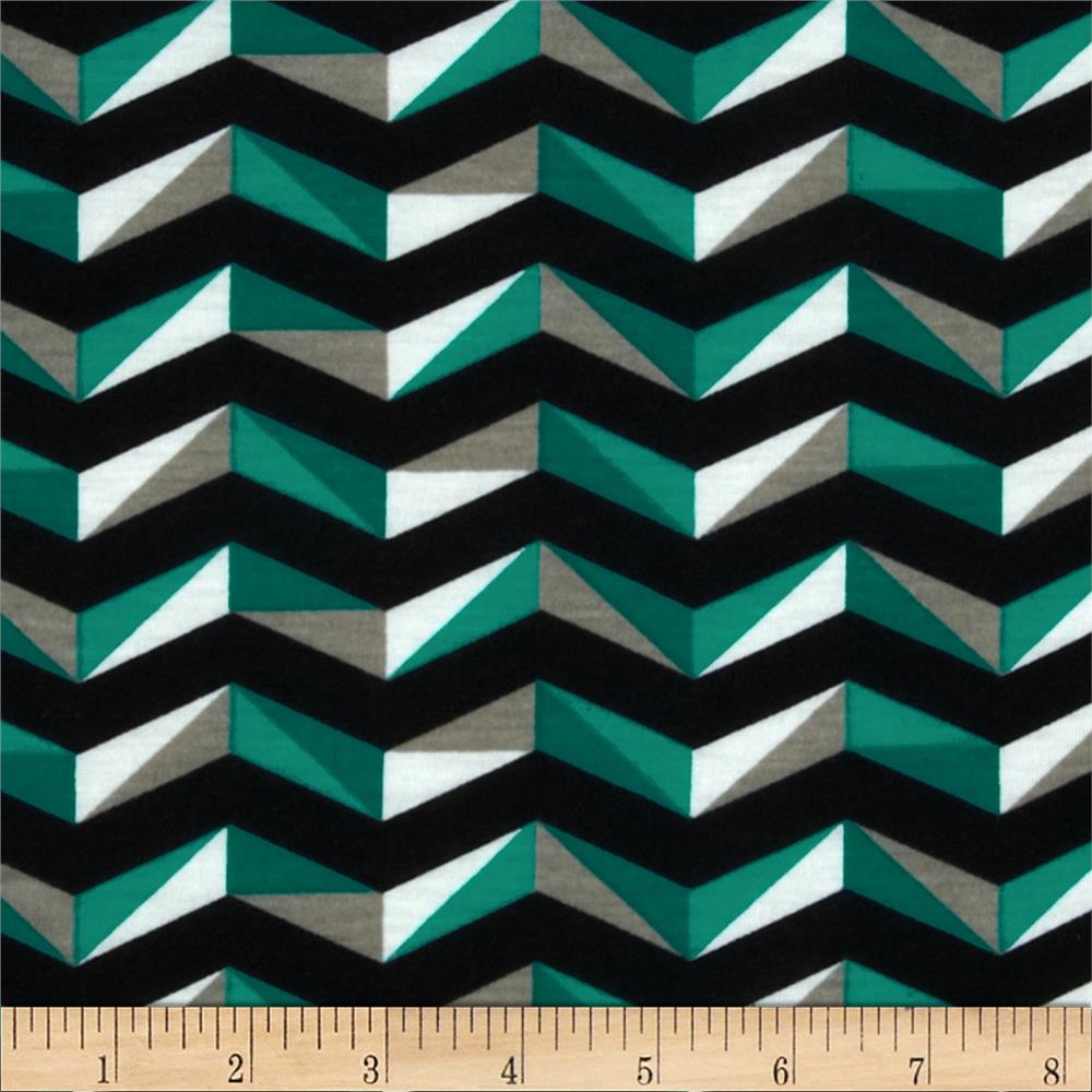 Fashionista Jersey Knit Geo Chevron Black/Teal
