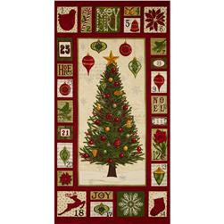 Moda Christmas Countdown Panel Berry Red