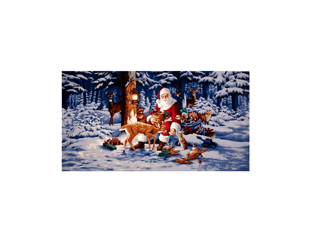 Good Tidings Woodland Santa 24 In. Panel Blue