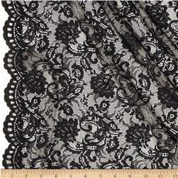Stretch Lace Scroll Floral Black