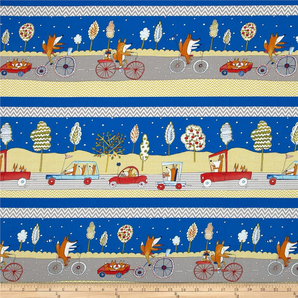 Fox Playground Fox Transportation Navy Discount Designer Fabric