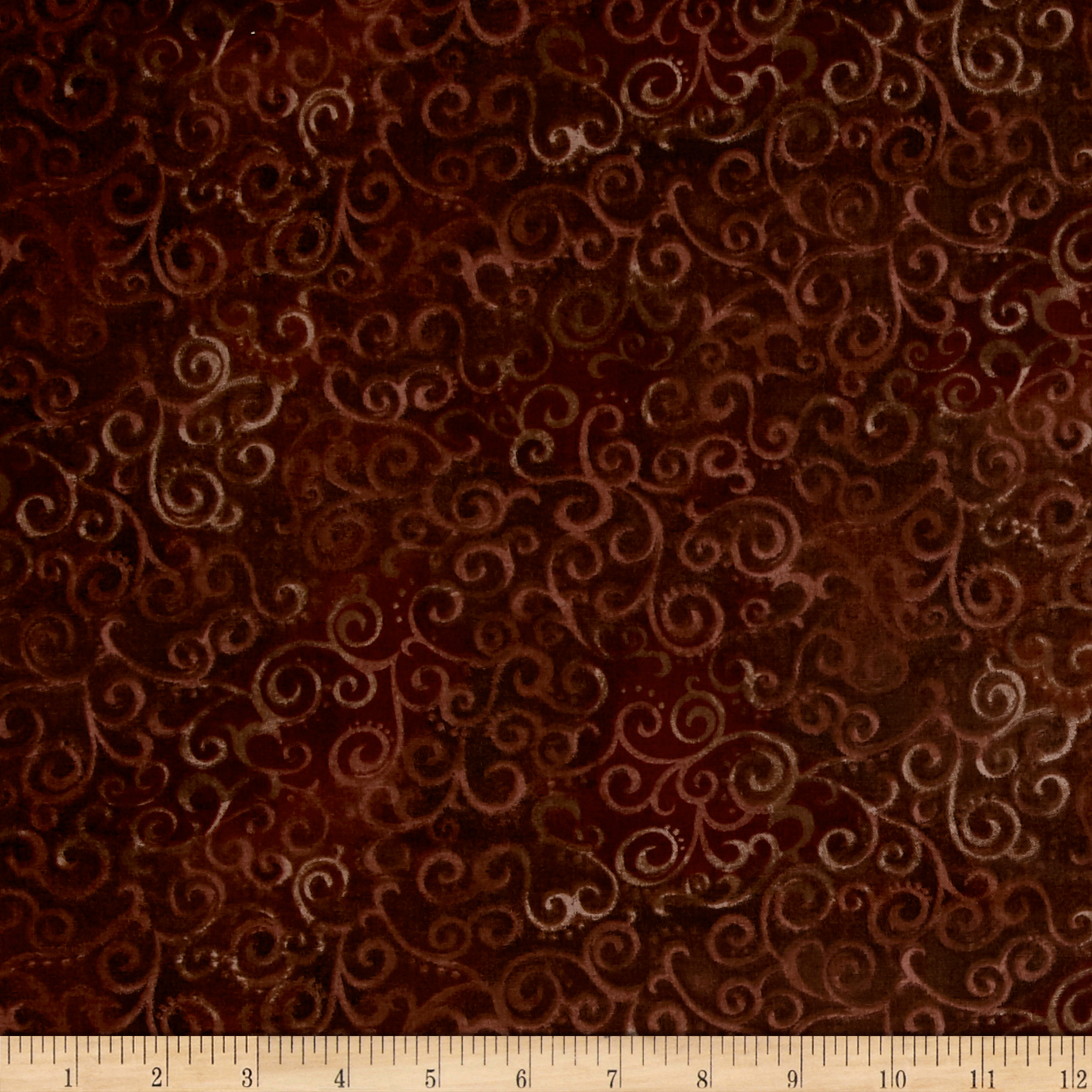 Image of Quilting Treasures 108'' Wide Quilt Back Omber Scroll Root Beer Fabric