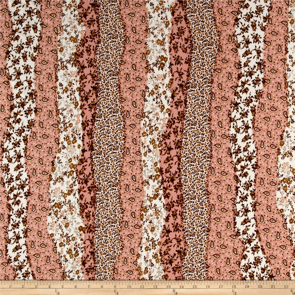 ITY Brushed Jersey Knit Border Flowers Peach/Brown/Cream Fabric