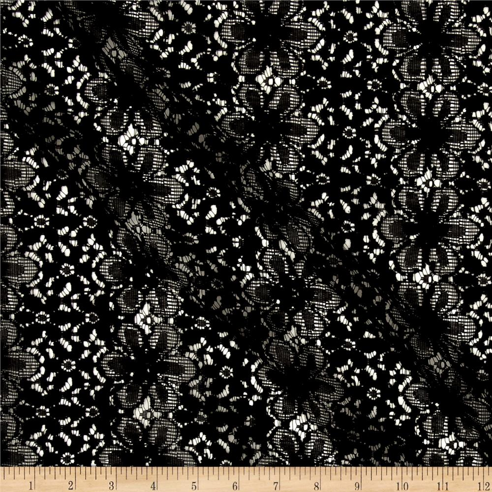 Lace Crochet Daisy Floral Black Fabric