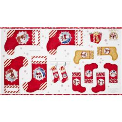 Rudolph 50 Years Christmas Stockings Panel Red/White Fabric