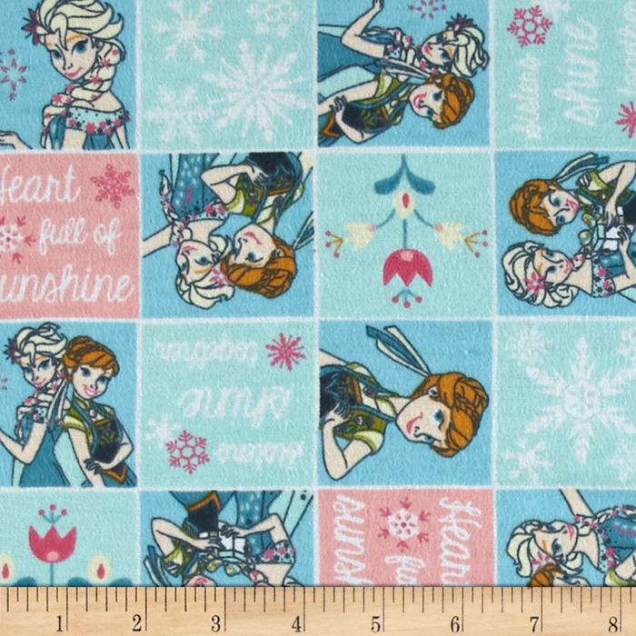Image of Disney Frozen Forever Flannel Sisters Frozen Fever Patch Light Aqua Fabric