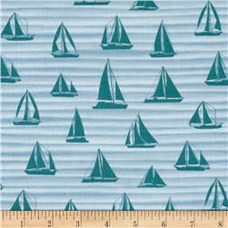 By the Sea Sail Away Wave Turquoise/Blue