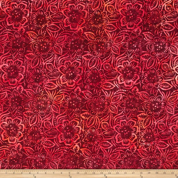 Wilmington Batiks Dancing Flowers Red