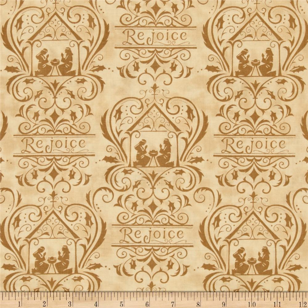 Moda Rejoice In The Season Damask Parchment