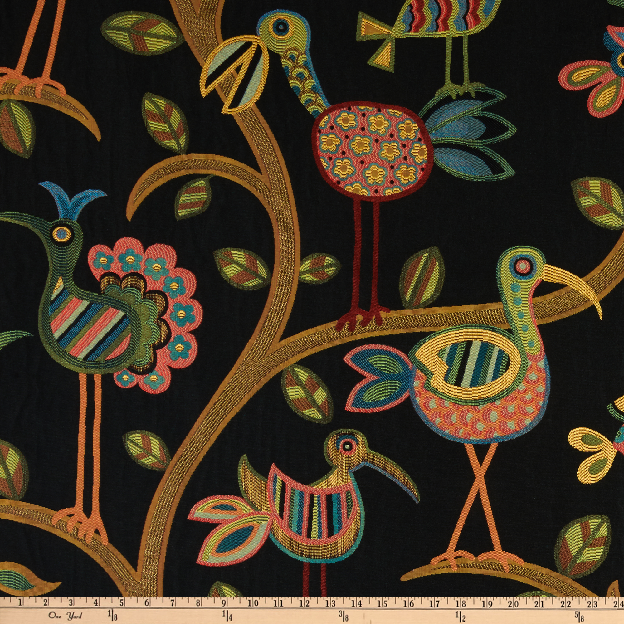Swavelle/Mill Creek Crazy Ol' Bird Jacquard Midnight Fabric by Swavelle Mill Creek in USA