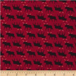Timeless Treasures Cabin Moose Red