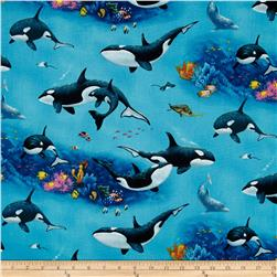 Enchanted Waters Orca Whales Blue Fabric