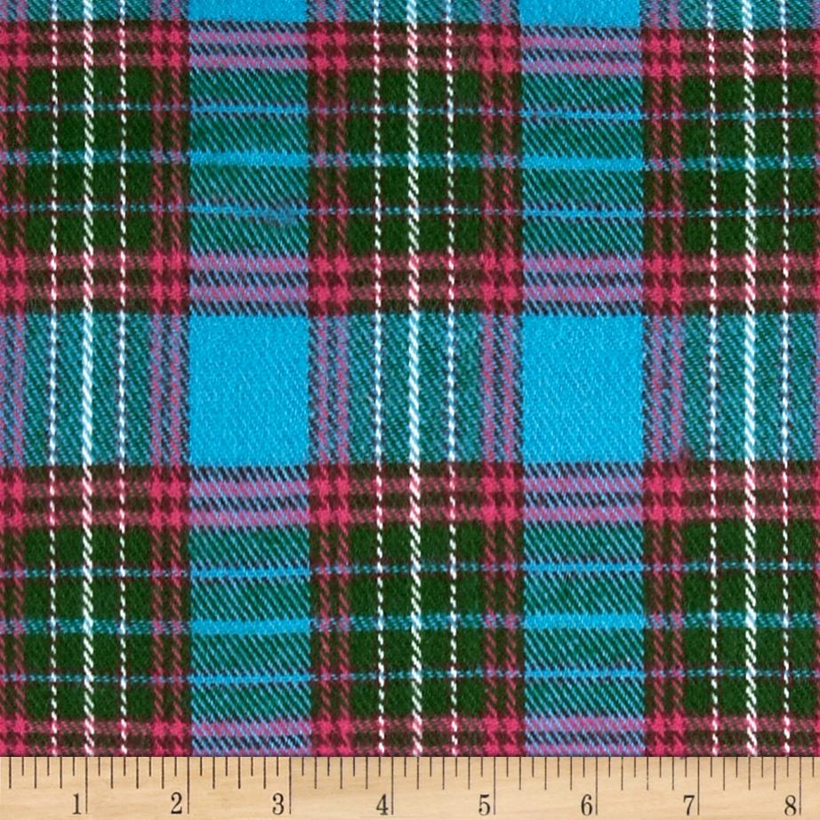 6 oz. Flannel Large Plaid Blue/Green/Fuchsia
