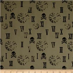 Swim Activewear Spandex Knit Rockabilly Retro Skulls Brown Black