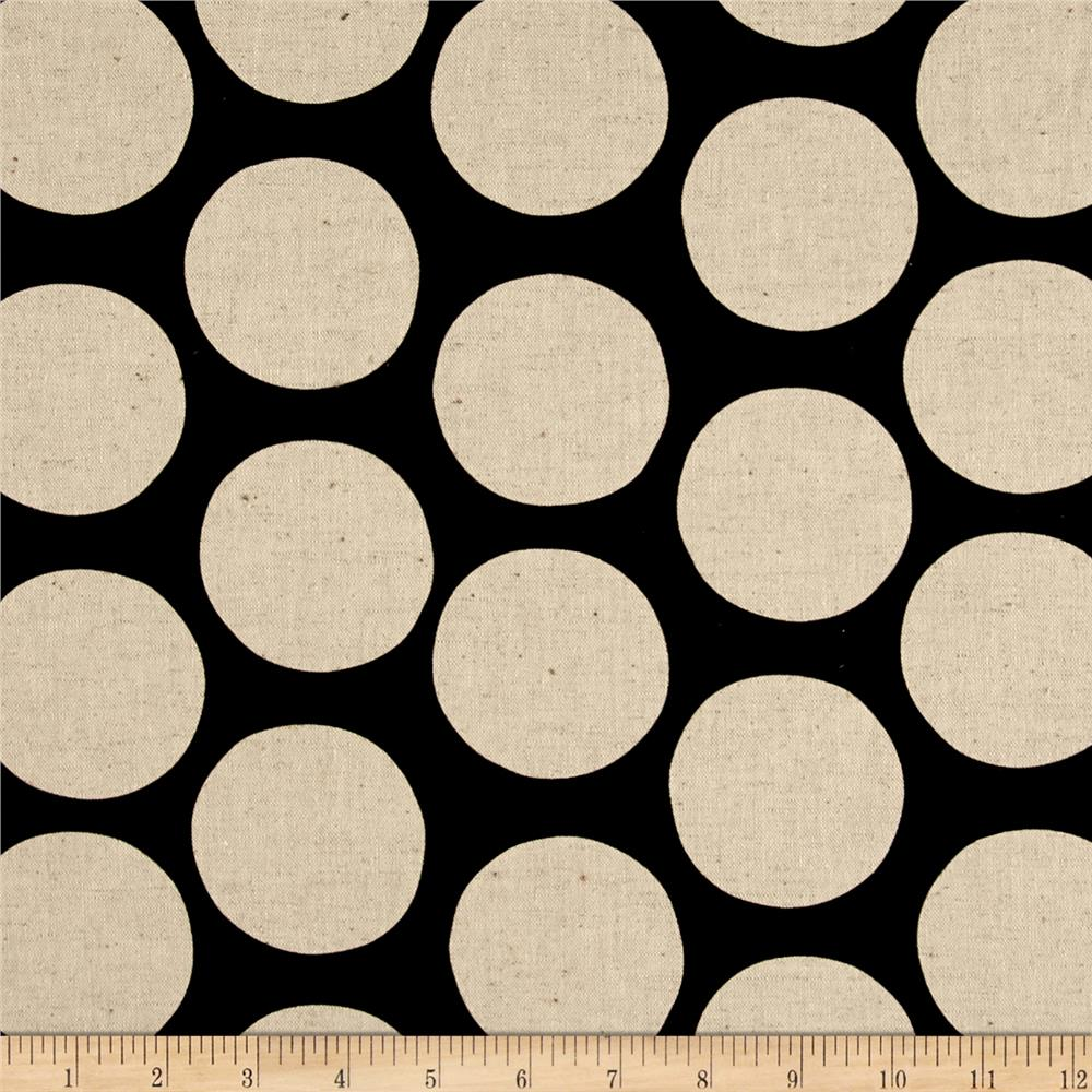 Kaufman Sevenberry Canvas Cotton Flax Prints Dots Jet Fabric By The Yard