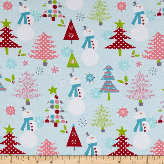 Riley Blake Cotton Jersey Snow Man Blue