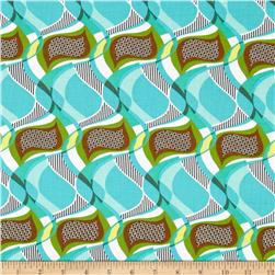 Cotton Lawn Drop Swirl Turquoise/Brown