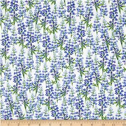 Greetings from Texas Blue Bonnets Cream Fabric