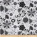 Ink Blossom Contempo Floral White