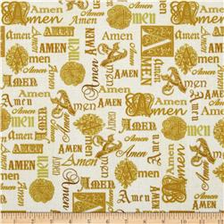 Kanvas Bible Study I Metallic Amen Cream Fabric