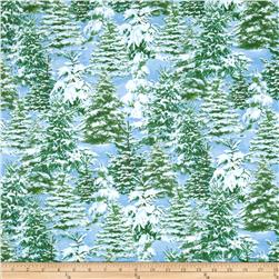 Timeless Treasures Winter Frost Glitter Trees Sky Fabric
