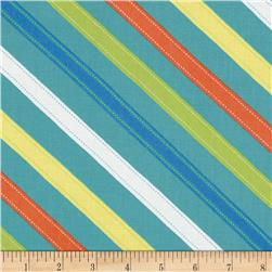 Moda ABC Menagerie Stitched Stripes Turquoise