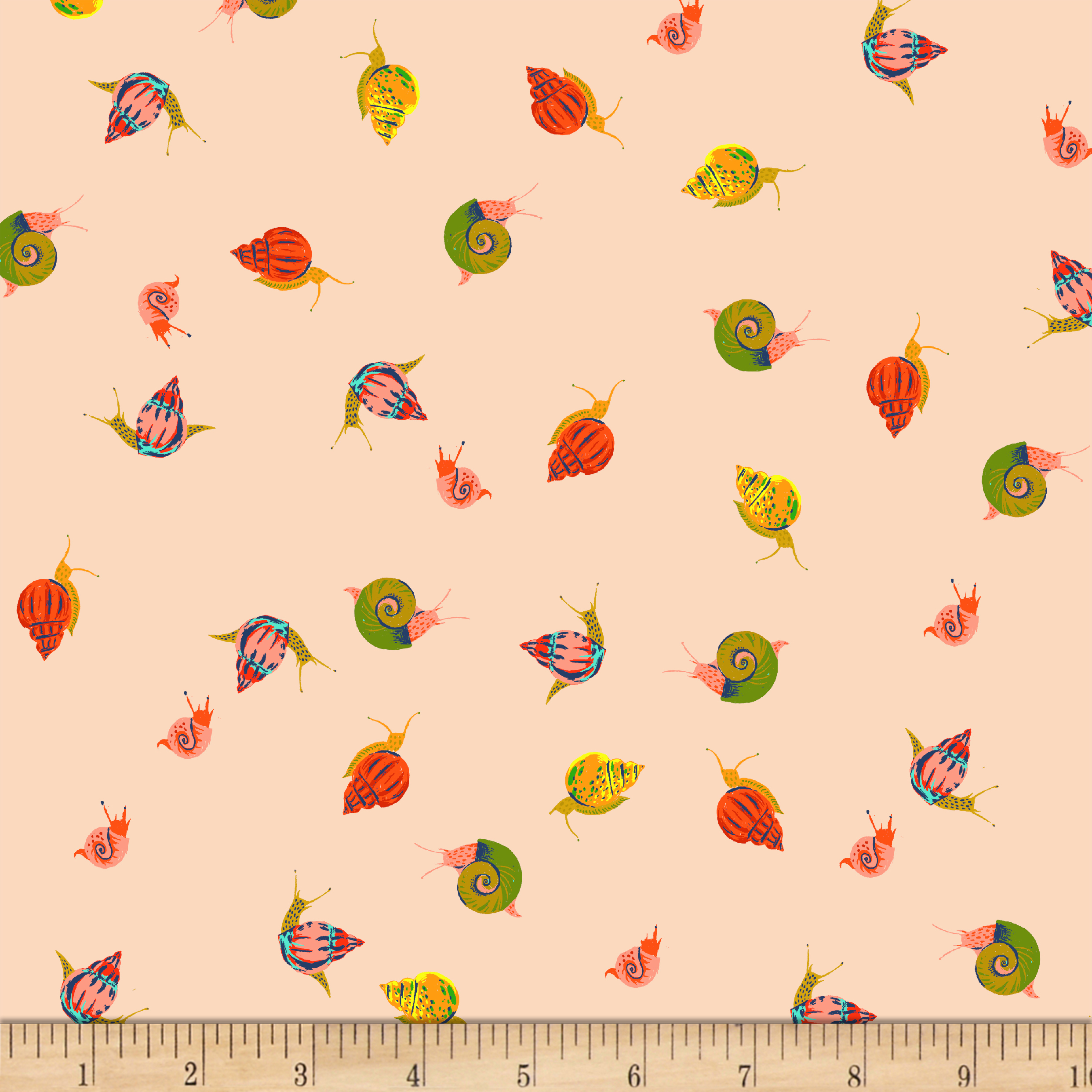 Heather Ross Sleeping Porch Lawn Snails Peach Fabric by Windham in USA