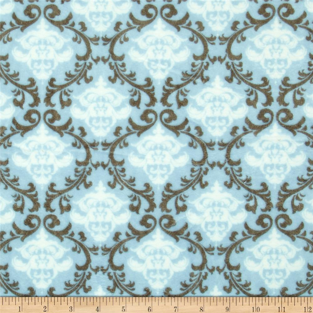 Shannon Minky Cuddle Romance Vine Damask Dusty Blue