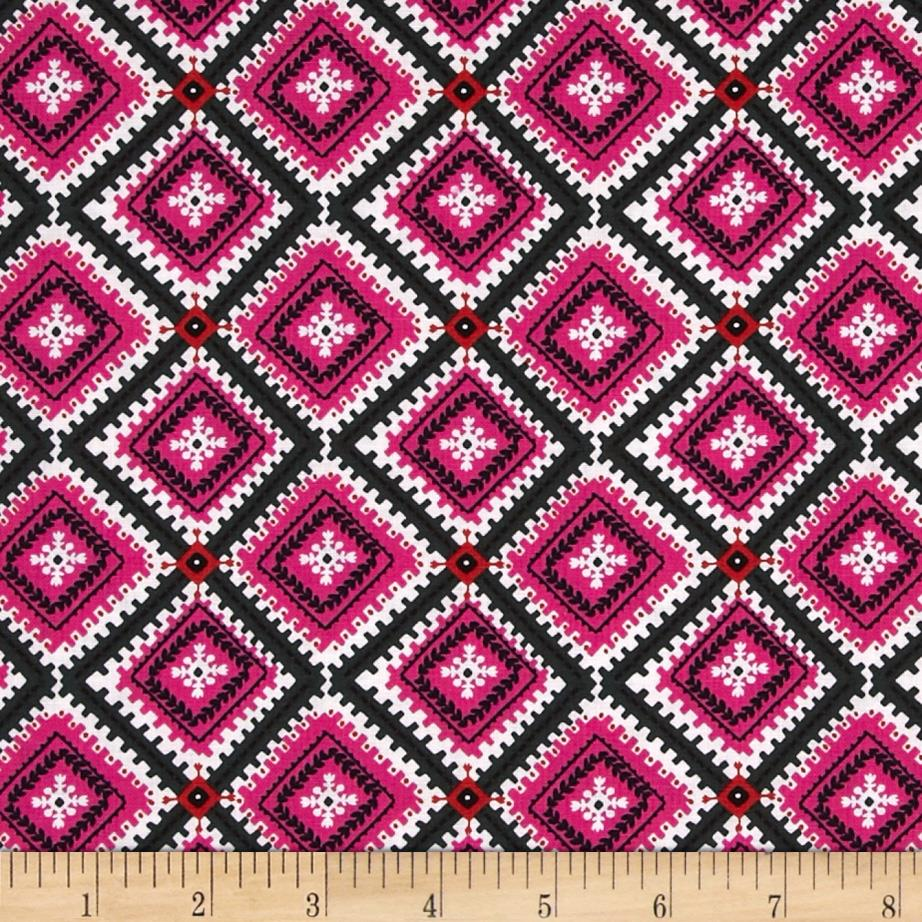 Wild Field Diamond Medallion Hot Pink