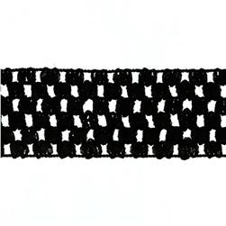 "1 3/4"" Crochet Headband Trim Black"