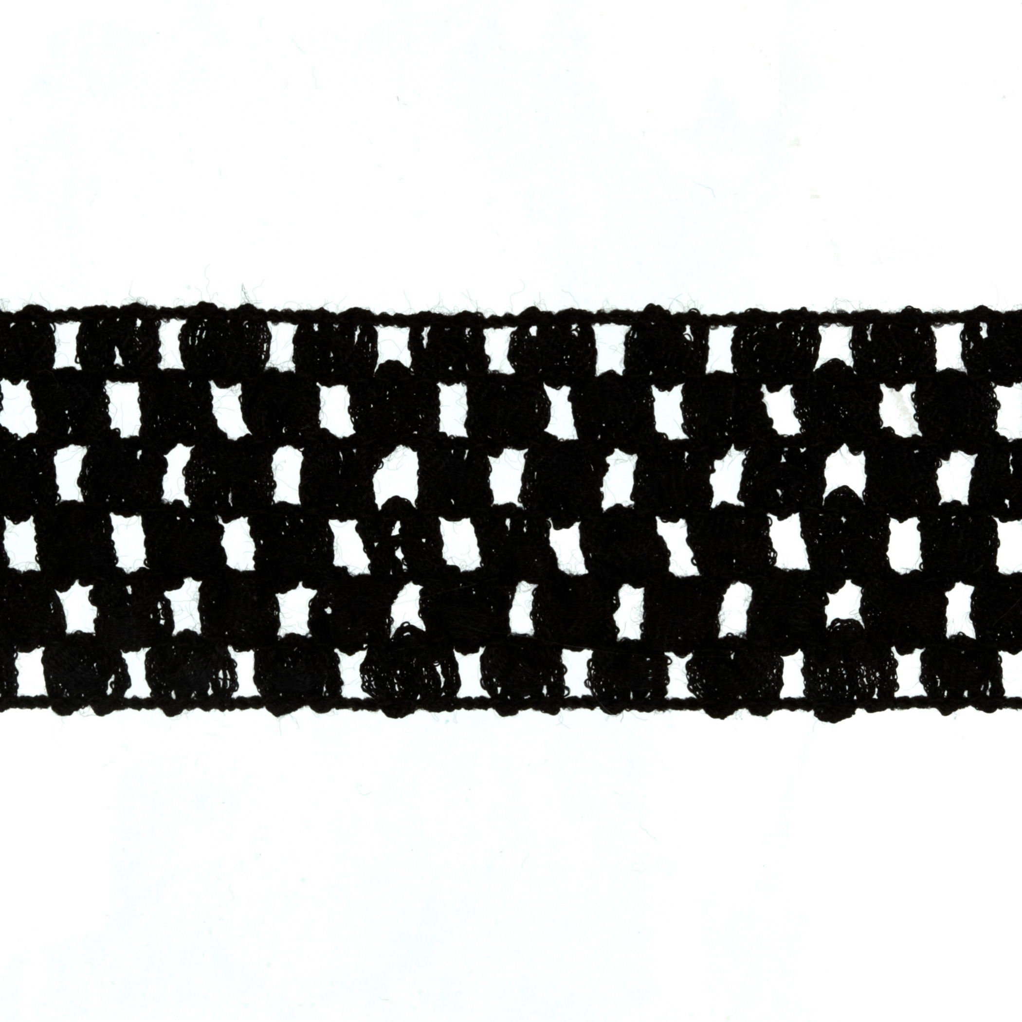 1 3/4'' Crochet Headband Trim Black Fabric