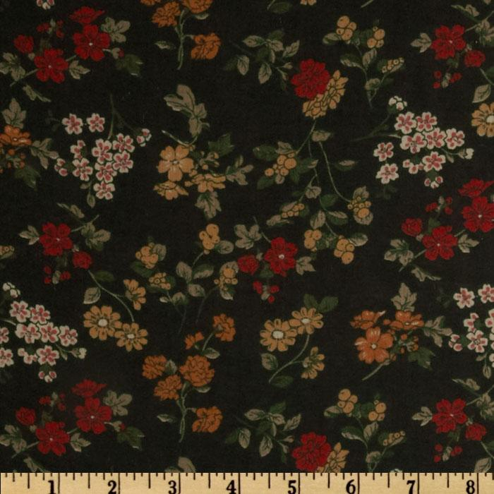 Maribel Voile Floral Black/Gold/Red