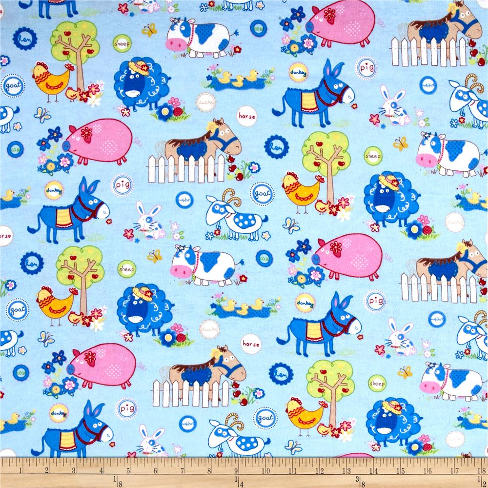 Flannel Funny Farm Blue