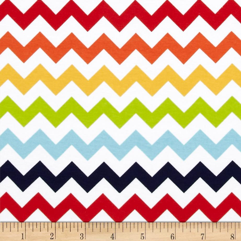 Riley Blake Jersey Knit Chevron Small Rainbow