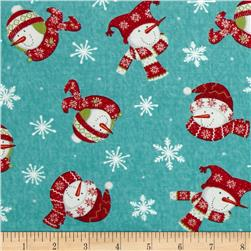 Moda Be Jolly Tossed Snowmen Icy Aqua