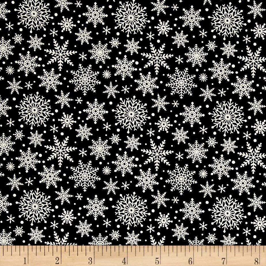 Riley Blake Comfort and Joy Snowflakes Black