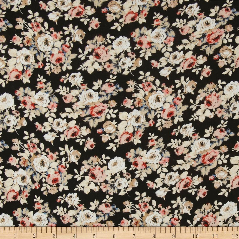 Rayon Challis Peach Roses on Black