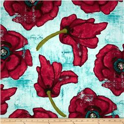 Michael Miller Poppies Big Poppy Aqua Fabric