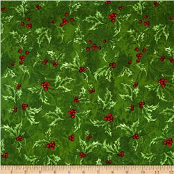Seasons Greetings Holly Spray Green