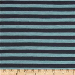 Jersey Knit Stripe Aqua/Charcoal